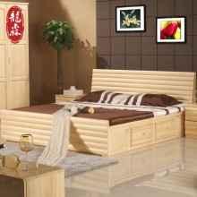 龙森现代简约纯实木床松木床1.21.51.8米气压箱体储物双人床家具