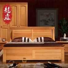 龙森 现代新中式纯实木床1.51.8米双人榉木床气压箱体简约田园床