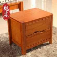 龙森家具 全实木家具 水曲柳家具床头柜实木床头柜318#