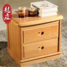 龙森 现代新中式全实木床头柜储物柜简约卧室榉木家具床头抽屉柜