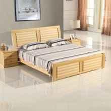 龙森现代新中式纯实木床 1.21.51.8米松木床气压箱体田园单双人床