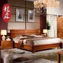 龙森家具 现代新中式纯实木床胡桃木床1.51.8米双人气压箱体婚床
