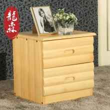 龙森 现代简约全实木床头柜储物柜卧室家具松木家具床头抽屉柜