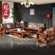 龙森 现代新中式全实木沙发123人位沙发组合高端乌金木沙发家具