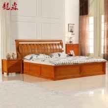 龙森家具水曲柳卧室双人床高箱气压床 箱体床 1.5米1.8米 实木床
