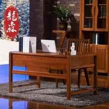 龙森 现代新中式全实木书桌电脑桌家用学习台式桌书法桌榆木书桌