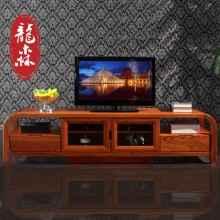 龙森 现代新中式全实木电视柜视听柜储物地柜简约榆木客厅家具