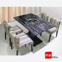 火锅桌 大理石电磁炉火锅桌椅韩式铸铁火锅桌椅 咖啡厅椅烧烤桌
