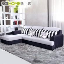 斯可馨日式三人小户型布艺沙发组合客厅现代简约转角可拆洗布沙发