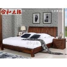 【合和木缘】家具简约现代卧室床北美黑胡桃 GY-HA01