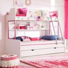 多喜爱儿童家具 芭比系列高低床上下铺双层子母床 带护栏女孩床