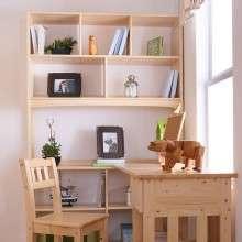 多喜爱儿童家具 实木儿童学习书桌书柜组合 整套转角书桌书柜组合