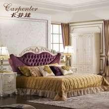 卡芬达欧式家具 1.8米双人床欧式田园实木床 法式布艺床 韩式婚床