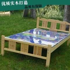 厂家直销现代简约纯松木实木床 1.2-1.5双人实木床原木色实木床