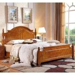 美式实木床全实木床双人床1.8美式乡村家具高箱储物床橡胶木婚床