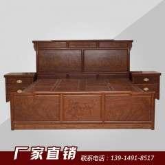 厂家热销明景加高床加2个床头柜 中式高山巴花木床高档红木家具