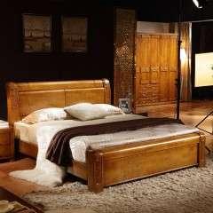 高档全实木床1.5米 1.8米 橡木床 双人现代中式高箱储物婚床