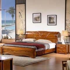 榆木床实木床1.8米成人中式双人床气压高箱体床储物1.5m家具婚床