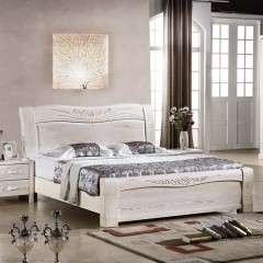 榆木床现代中式白色高箱实木床1.5米1.8米储物气压床双人床