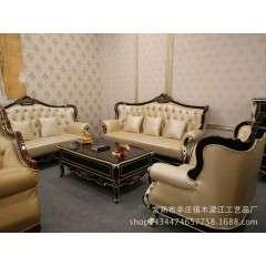 欧式真皮沙发组合新古典田园实木沙发法式客厅皮艺沙发123
