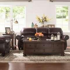 美式经典头层牛皮单人双人三人位沙发客厅组合 经典美国畅销特价