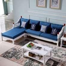 韩式田园L型转角贵妃样板房布艺实木沙发橡木组合