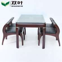 双叶家具全实木餐桌椅组合4人小户型水曲柳木长方形餐桌一桌四椅