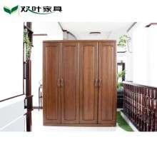 双叶家具实木衣柜全实木二门三门四门大衣柜现代中式榆木卧房衣柜