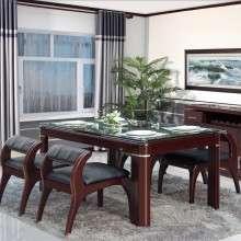 双叶家具现代中式实木餐桌钢化玻璃面板两侧抽屉4人6人长方形饭桌