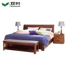 双叶览众系列 水曲柳实木1.5米双人床 现代中式1.8米储物大床家具