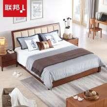 联邦家具现代中式实木床卧室1.8米1.5双人床软靠高箱储物成人床铺