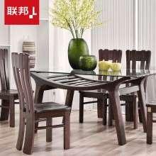 联邦家具现代中式实木钢化玻璃餐桌椅组合创意时尚一桌四椅子6人
