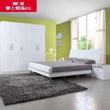 掌上明珠家居 白色亮光大床 简约板式床床头柜1.5M-1.8M床大户型