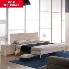 掌上明珠家居 简约木纹床 1.5米-1.8M单双人板式床 小户型卧室床