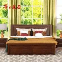 华日家具 胡桃楸木实木床高箱床 储物双人床 现代中式卧室家具
