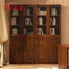华日家具 胡桃楸木实木两门书柜 储物收纳柜 现代中式书房家具H1