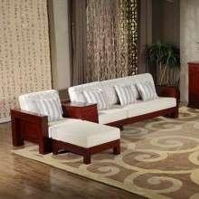 华日家具 栗色现代中式实木沙发 客厅转角布艺沙发组合客厅家具L14