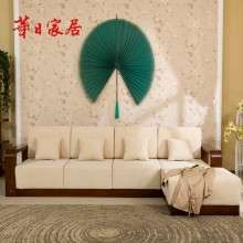 华日家具 现代中式胡桃楸木实木沙发 转角沙发组合 客厅家具