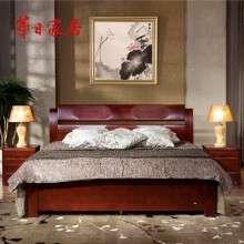 华日家具 中式双人床1.8+床头柜X2 实木储物高箱卧室 实木床 栗色床LH6