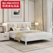 双虎1.5米现代简约皮床双人床1.8米婚床大床组装卧室家具套装RC1