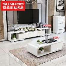双虎家私 电视柜简约现代伸缩钢琴烤漆客厅茶几和电视柜组合QX201