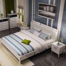 双虎家私 现代简约双人床1.8米板式床1.5米大床卧室家具套装15ZN2