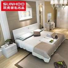 双虎家私 主卧板式双人床1.8米现代简约大床卧室家具套装15BJ1