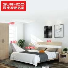 双虎家私北欧现代简约1.8米双人床1.5米板式床大床卧室家具16S1