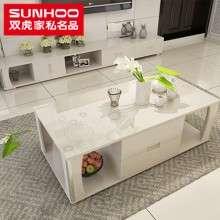 双虎家私钢化玻璃伸缩茶几电视柜套装组合小户型现代简约家具QX8