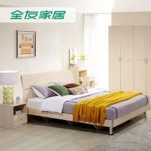 全友家私 现代简约床卧室床家具床1.8米床板式床双人床 106302