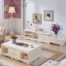 全友家私电视柜茶几组合韩式客厅可伸缩电视柜储物茶几120635