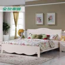 全友家私双人床韩式田园卧室组合家具三件套床床头柜床垫120611