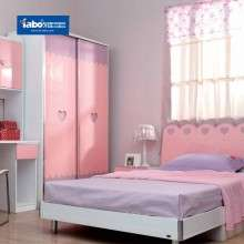 雅宝儿童成套家具 1.2米公主床儿童床 女孩卧室套房粉色组合书架