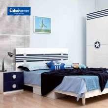 雅宝儿童家具套房组合 男孩卧室1.5米单人床 现代简约推门衣柜子